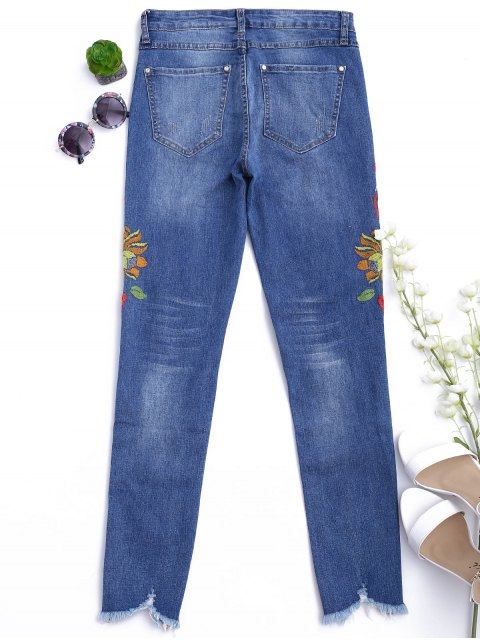 outfits Cutoffs Floral Embroidered Narrow Feet Jeans - DENIM BLUE L Mobile