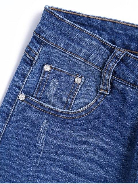 shop Cutoffs Floral Embroidered Narrow Feet Jeans - DENIM BLUE M Mobile