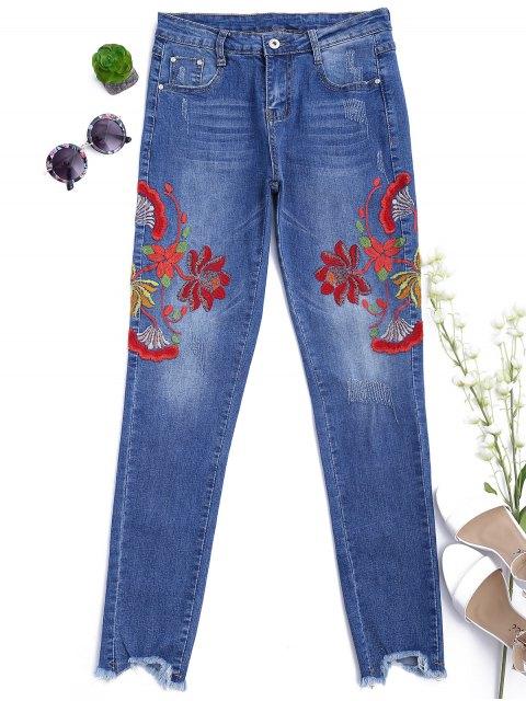 Jean Skinny Brodé Floral Coupé - Denim Bleu M Mobile