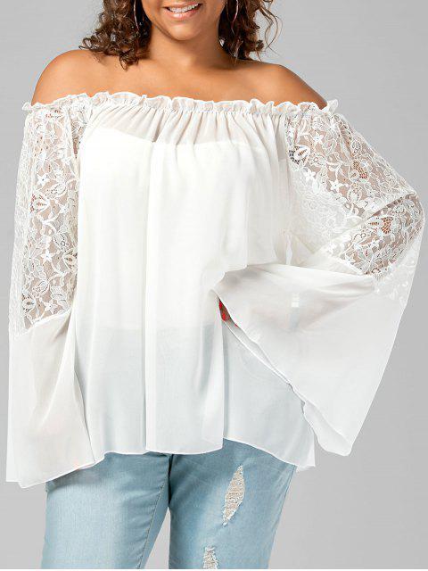 Lace Trim Off The Shoulder Plus Size Top - Blanc 5XL Mobile