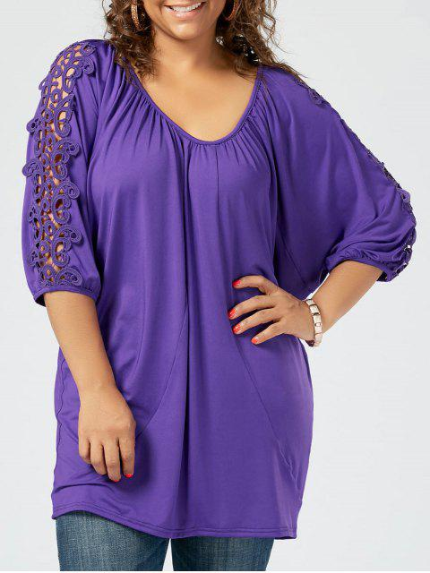 affordable Plus Size Lace Insert Tunic Tee - PURPLE XL Mobile
