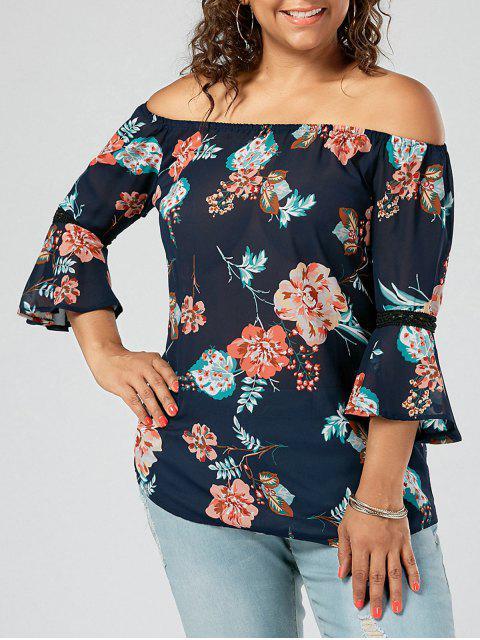 Plus Size Chiffon floral de la blusa del hombro - Azul Purpúreo 3XL Mobile