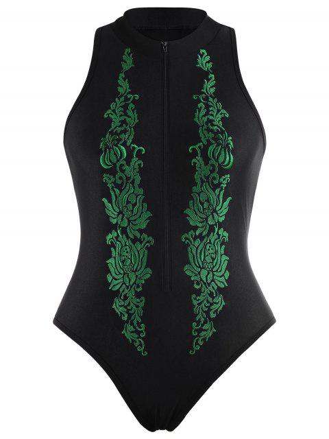 shop High Neck Embroidered Plus Size Swimsuit - BLACK 4XL Mobile