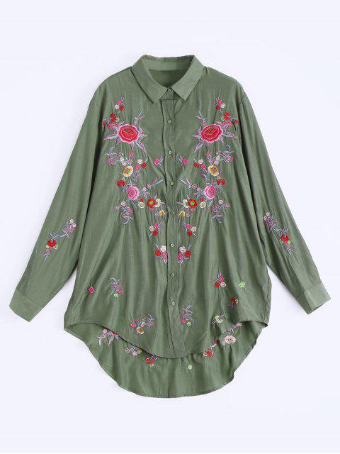 Hohes niedriges Kleid mit Knöpfe und Blumenstickereien - Armeegrün S Mobile