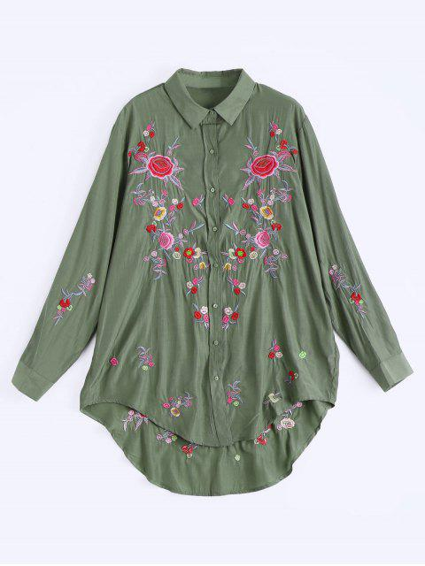 affordable Floral Embroidered Button Up High Low Dress - ARMY GREEN M Mobile