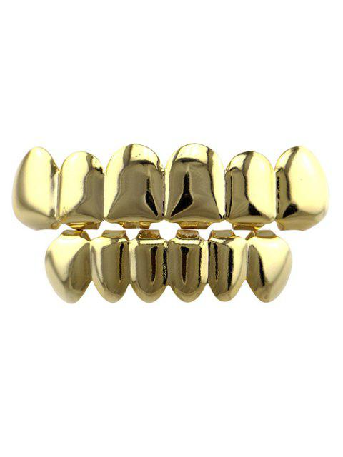 Glatte Hip Hop Top Unterseite Zähne Grillz Set - Golden  Mobile