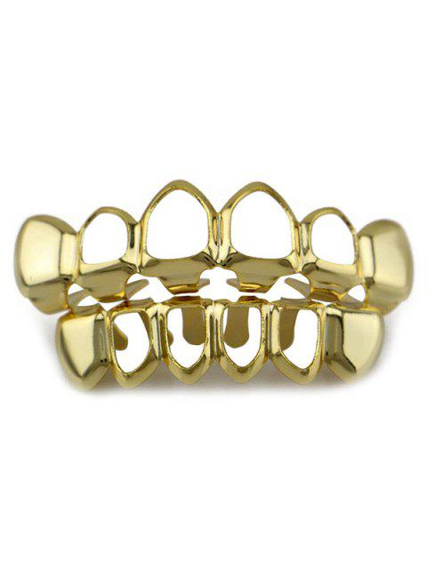 Hollow Hip Hop Top Unterseite Zähne Grillz Set - Golden  Mobile