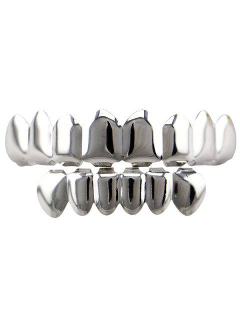 Hip Hop Top und Bottom Teeth Grillz Set - SILVER  Mobile
