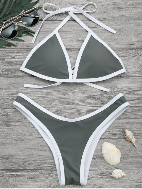 lady High Cut Contrast Piping Bikini Set - GRAY S Mobile