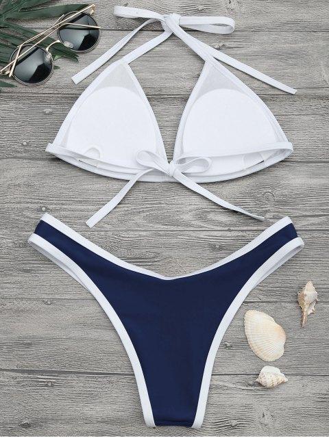 Ensemble Bikini Échancré à Bordure Contrastante - Marine L Mobile