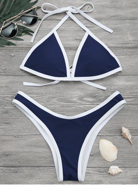 women High Cut Contrast Piping Bikini Set - NAVY S Mobile