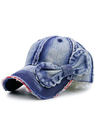 Image of Artificial Sanding Denim Bowknot Embellished Baseball Hat