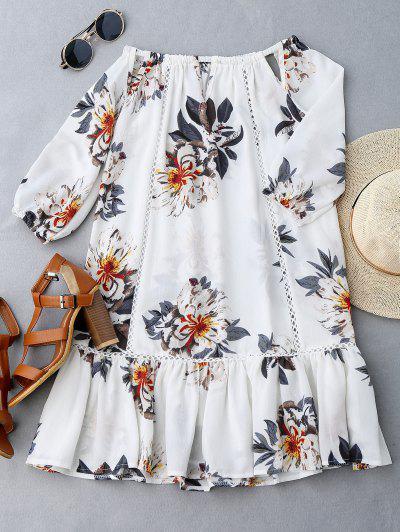 Cut Out Floral Print Ruffle Hem Dress - White M