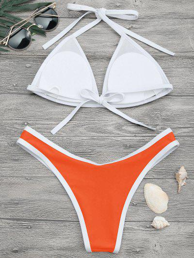 High Cut Contrast Piping Bikini Set1