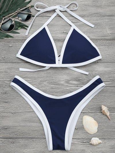 High Cut Contrast Piping Bikini Set - Navy M