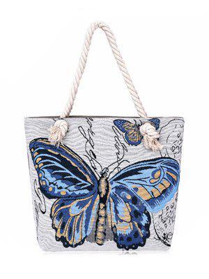 Bolso De La Lona De La Mariposa Pintada - Azul