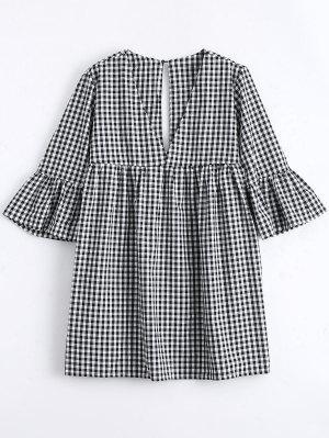 Mini Robe Droite Écossaise Manches Évasées  - Carré L