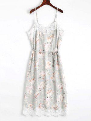 Lace Panel Floral Print Belted Cami Dress - Floral S