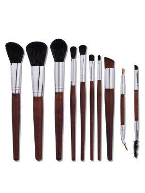 10Pcs Ensemble De Brosses De Maquillage En Nylon En Tube D'aluminium - Café