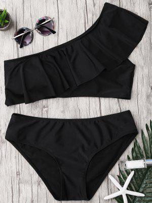 Ruffle One Shoulder Plus Size Bathing Suit - Black 3xl