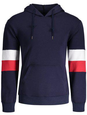 Kangaroo Pocket Striped Pullover Hoodie - Purplish Blue M