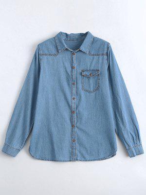 Camisa Bordada Com Denim Com Asas Com Bolso - Jeans Azul S
