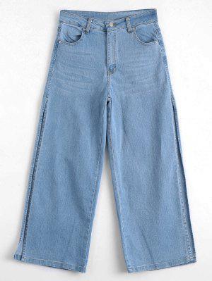 Novenos Pantalones De Pierna Ancha Con Faja Alta - Denim Blue L