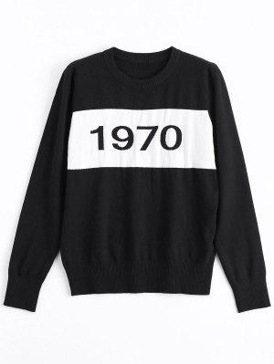 Constrasting Number Print Sweater - Black S