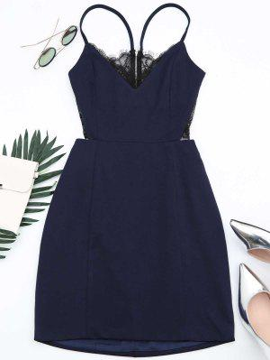 Zippered Lace Panel Fitted Cami Dress - Purplish Blue M