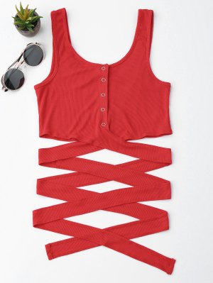 Knitted Crossover Button Up Tank Top - Red