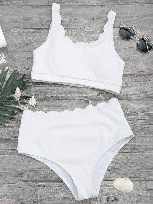 Ensemble De Bikini à Branlette à Haute Taille Festonnée - Blanc S