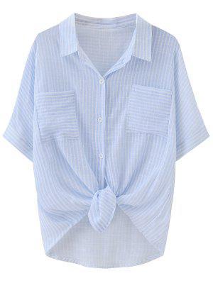Poches à Rayures Nouées Dip Hem Shirt - Rayure