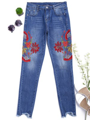 Cutoffs Floral Bordado Narrow Feet Jeans - Denim Blue Xl