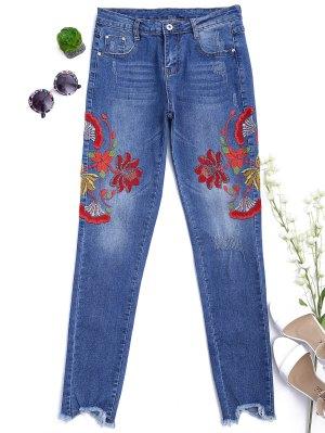 Cutoffs Floral Bordado Narrow Feet Jeans - Denim Blue L