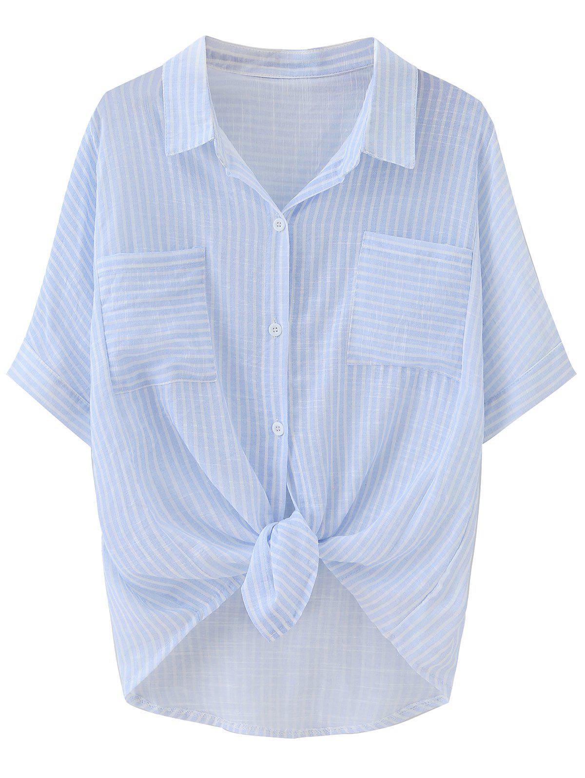 Gestreifte Tasche Bluse mit abfallendem Saum und Knotten