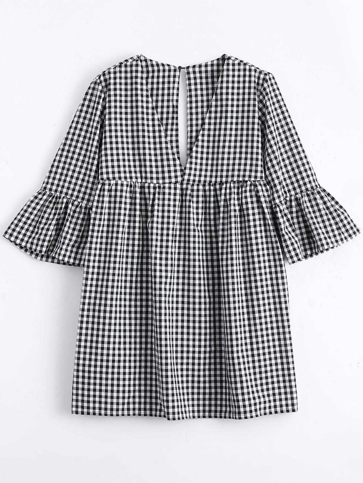 Flare Sleeve Checked Shift Mini Dress 217914401