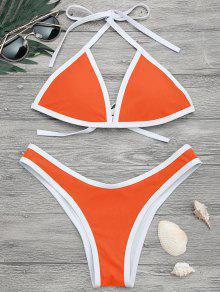 High Cut Contrast Piping Bikini Set - Neon Orange M
