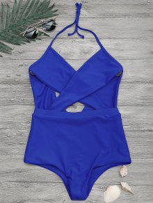 Cut Out Cross Front One Piece Swimsuit - Blue L