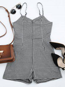 Cut Out Cami Back Bowknot Plaid Romper - Checked M