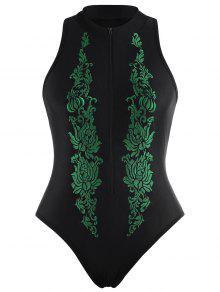 عالية الرقبة مطرزة بالاضافة الى حجم ملابس السباحة - أسود 2xl