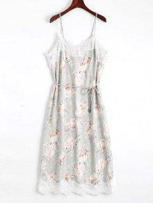 Lace Panel Floral Print Belted Cami Dress - Floral M