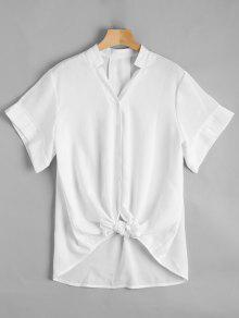 V Neck Button Up Longline Blouse - White L
