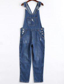 Ripped Pinafore Denim Jumpsuit - Denim Blue S