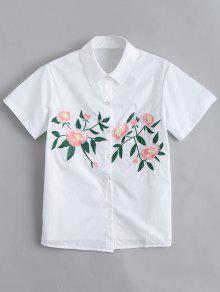 Botón De Manga Corta Hasta La Camisa Bordada Floral - Blanco S