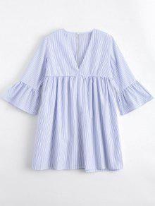 Flare Sleeve Stripes Cut Out Tunic Dress - Stripe S