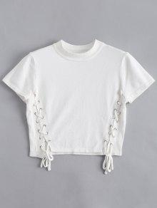 Knitting Lace Up Top - White S