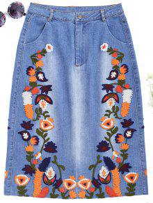 Floral Embroidered Midi Denim Skirt - Denim Blue L