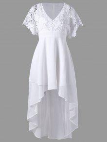 فستان دانتيل عالية انخفاض متدفق - أبيض M
