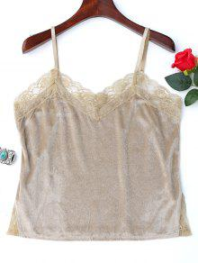 Lace Panel Side Slit Cami Top - Yellowish Pink S