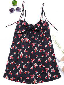 Bowknot Cherry Cut Out Slip Dress - Black M